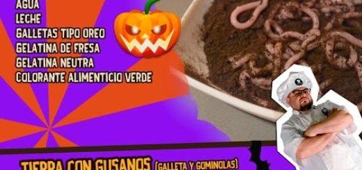 Tierra con gusanos (Trampantojo) - Receta Halloween