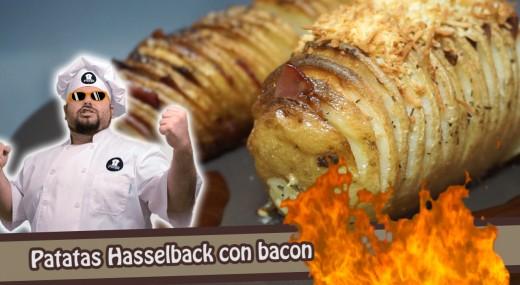 patatas hasselback con bacon y especias