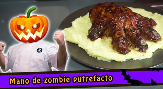 mano de zombie putrefacto halloween