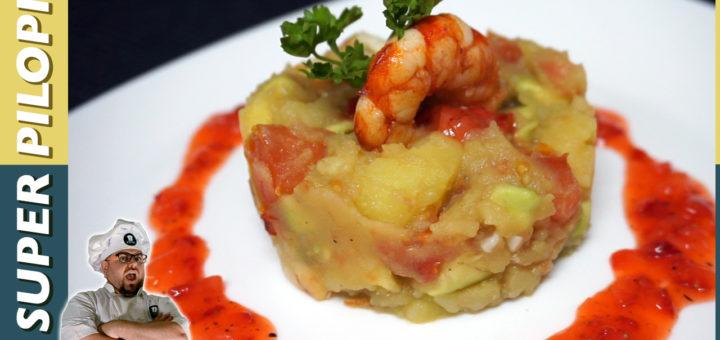 timbal de patata gambas aguacate gambones vinagreta de fresas