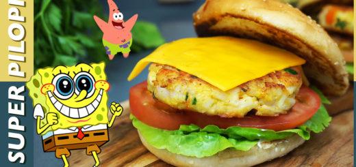 burguer cangreburguer bob esponja patricio krusty krab surimi cangrejo pan tostado hamburguesa pescado gambas camarones tomate lechuga mayonesa