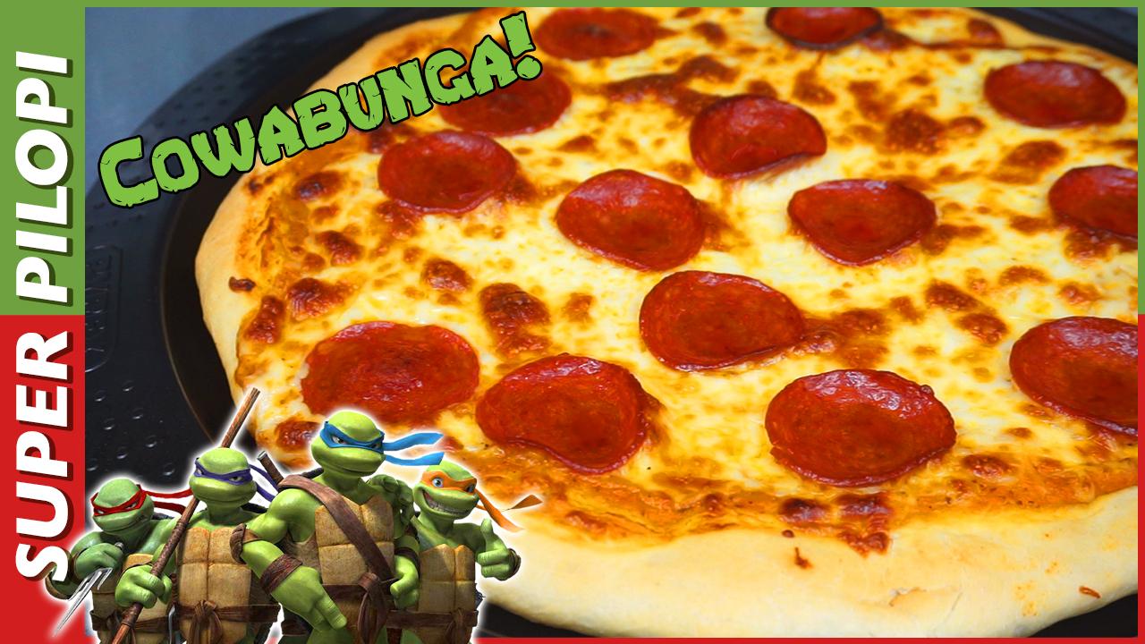 pizza de pepperoni estilo tortugas ninja mozzarella masa para pizza casera cowabunga teenage ninja turtles