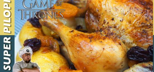 pollo asado a la miel juego de tronos game of thrones orejones fruta miel cebollas mini patatas
