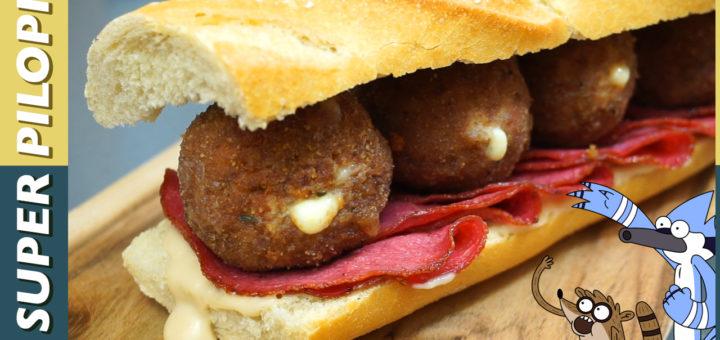 sandwich de la muerte bocata mortal bolas de carne picante queso mozzarella salami pan blanco bocadillo salsa pilopi soja mayonesa miel