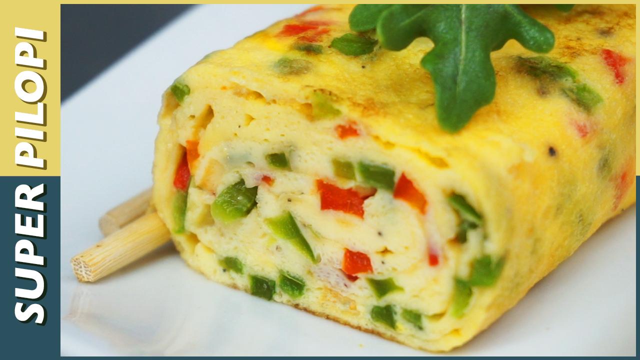 tortilla japonesa tamagoyaki pimiento verde rojo huevos leche rulo de tortilla omelette roll
