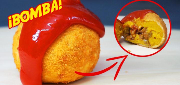 bomba carne rebozada pure patata curcuma pepinillo nueces cebolla comino tomate ajo leche ketchup pan