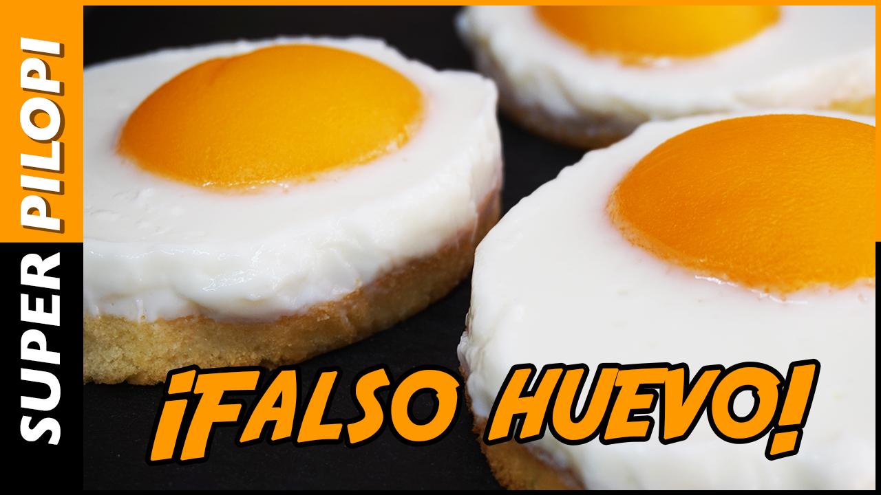 falso huevo tarta pastel dulce receta pilopi superpilopi trampantojo yogur melocoton almibar gelatina bizcocho tostada desayuno postre reto 3 euros barato facil