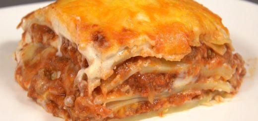 Lasaña de carne queso y bechamel