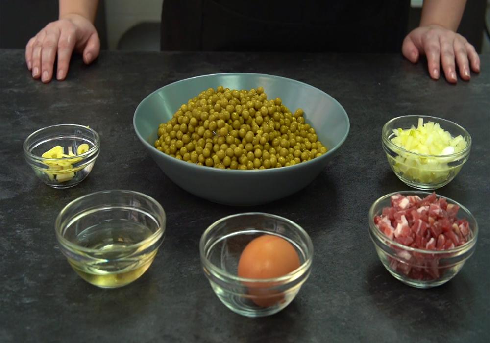 Ingredientes necesarios para los guisantes con jamón