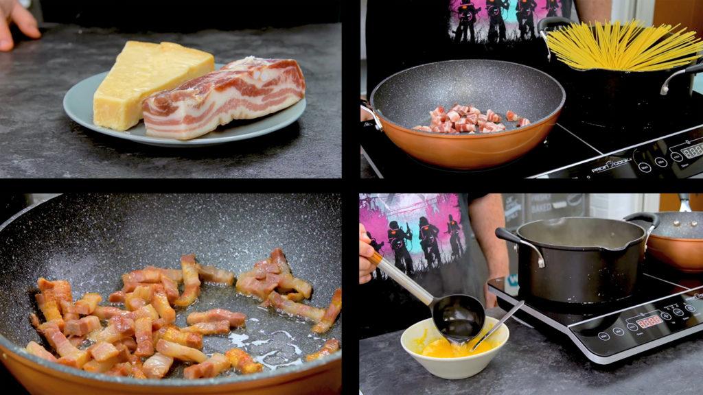 Preparación espaguetis carbonara