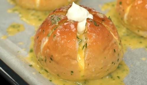 pan de ajo coreano listo para hornear